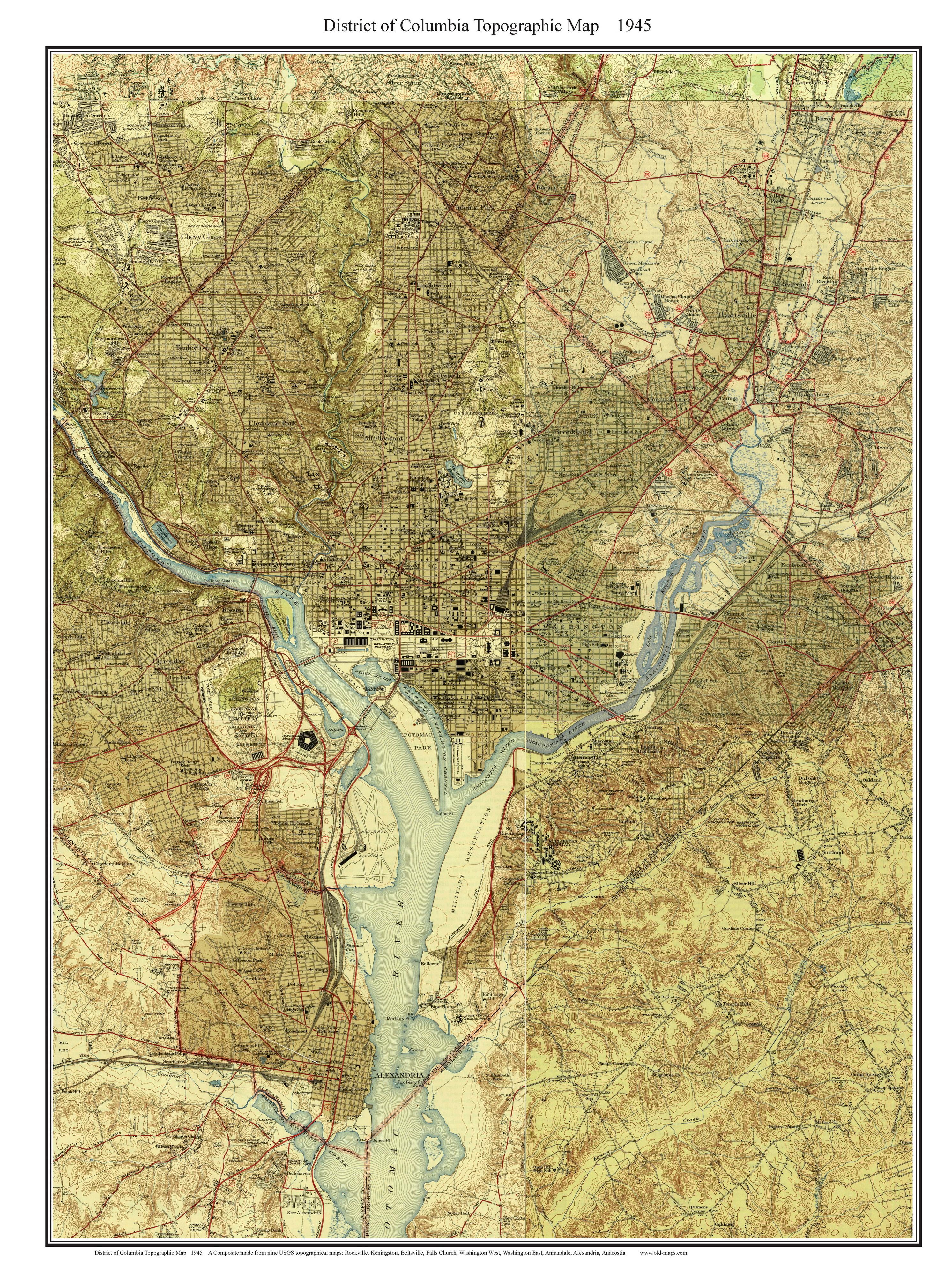 Old Topo Maps Of Washington D C
