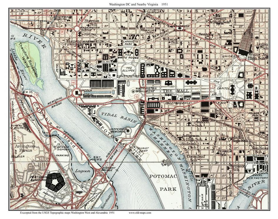 Downtown DC Topo Maps