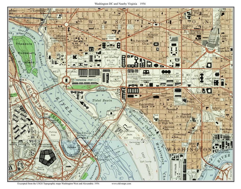 Downtown D C Topo Maps