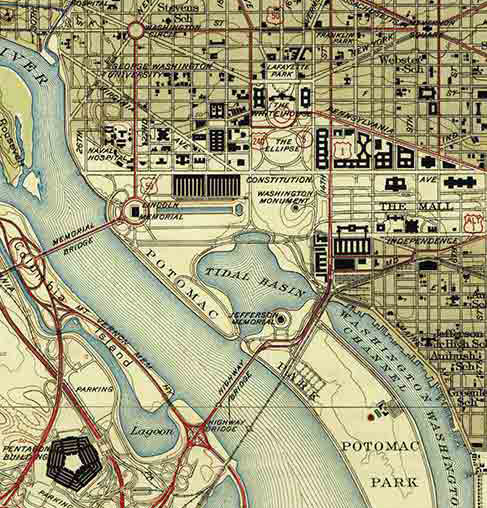 Topographical map of washington dc 1945 sciox Choice Image