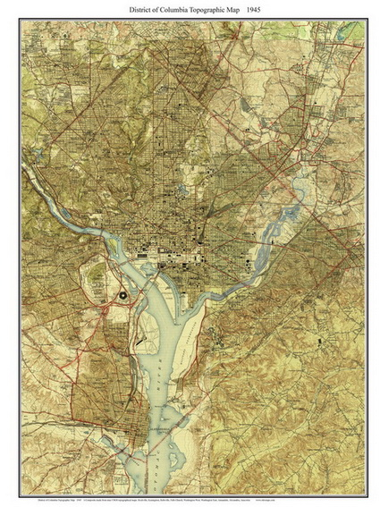Old Topographic Map of Washington DC