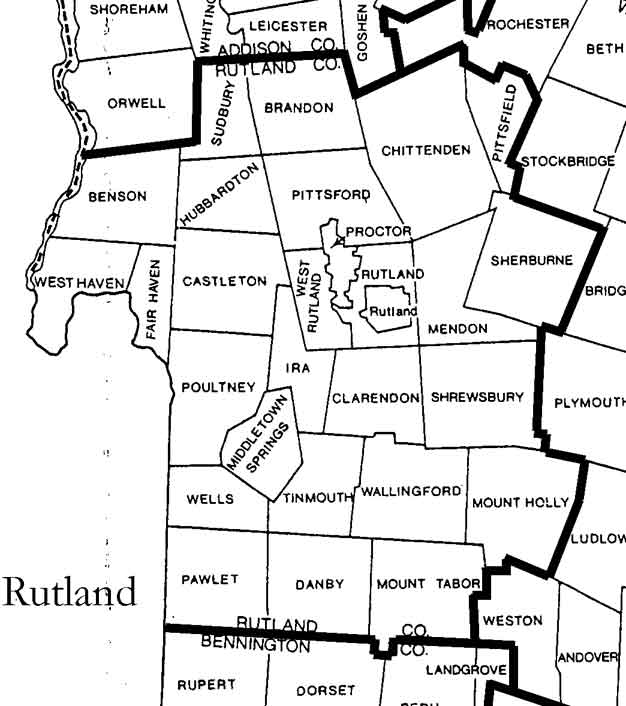 Rutland County Vermont Maps - Map of vt towns