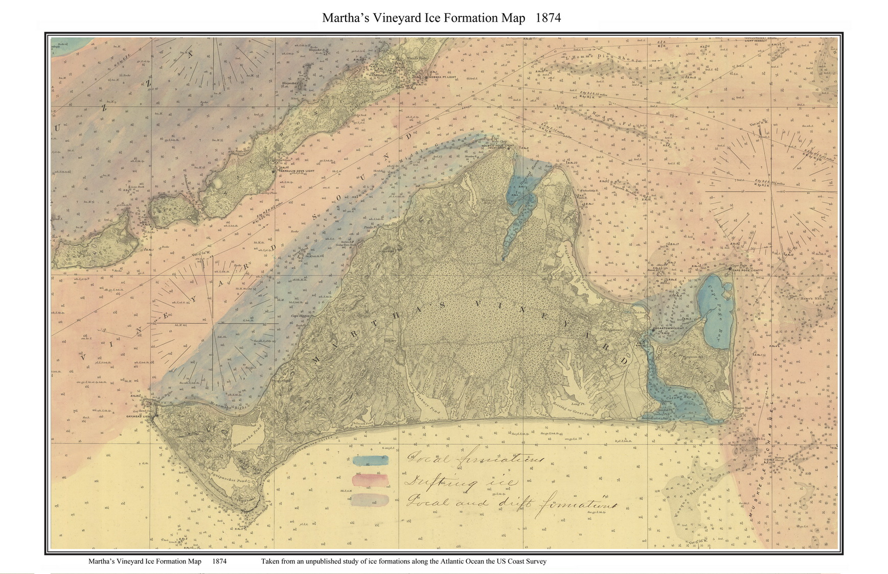 Marthas Vineyard 1871 Old Nautical Chart Of