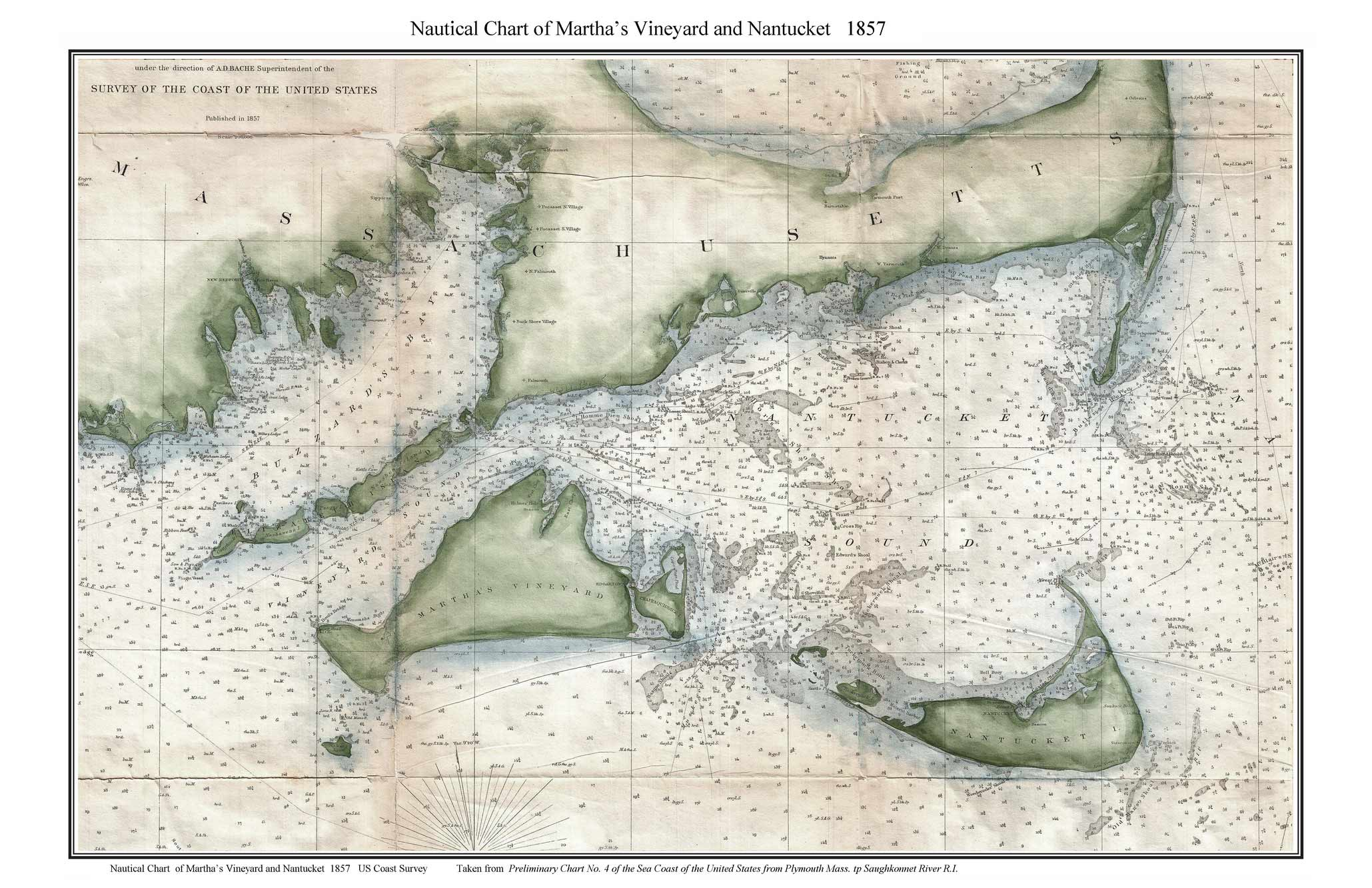 old nautical chart of martha s vineyard