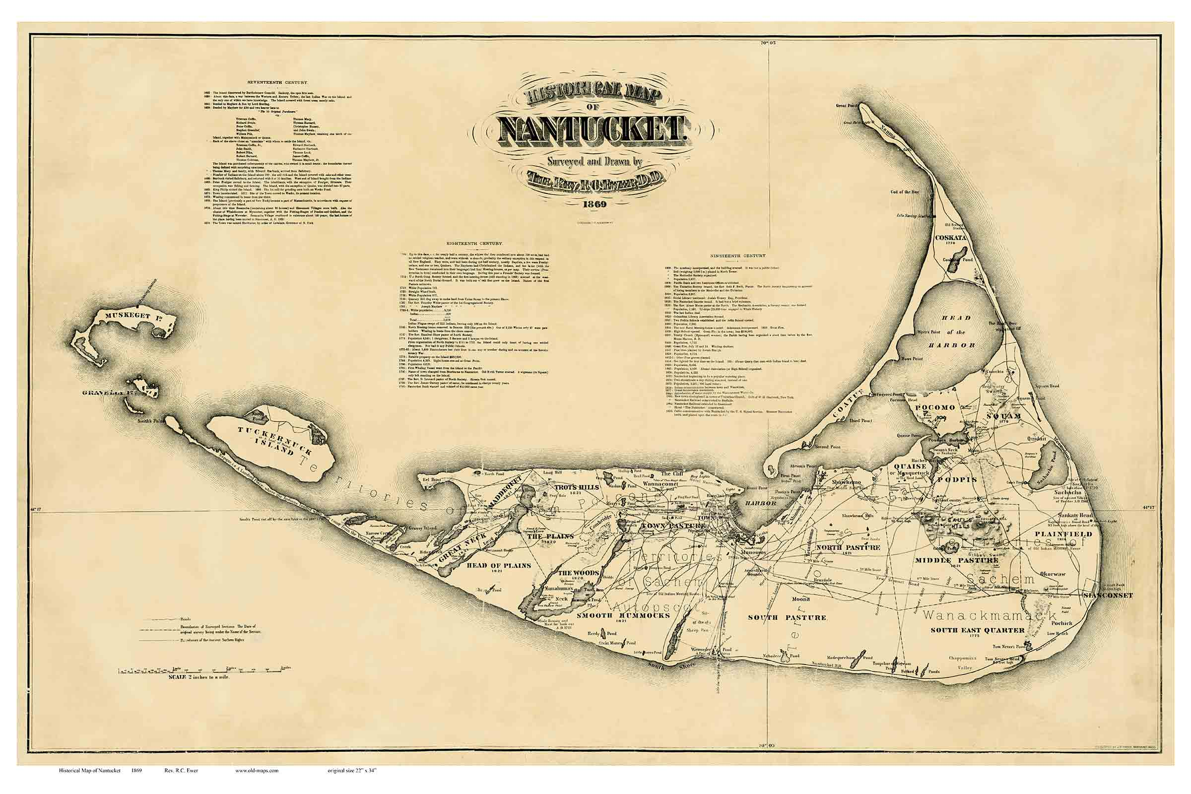 Old Town Maps Of Nantucket - Us map 1869