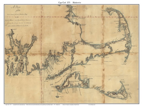 1844 Map of Cape Cod Simeon Borden