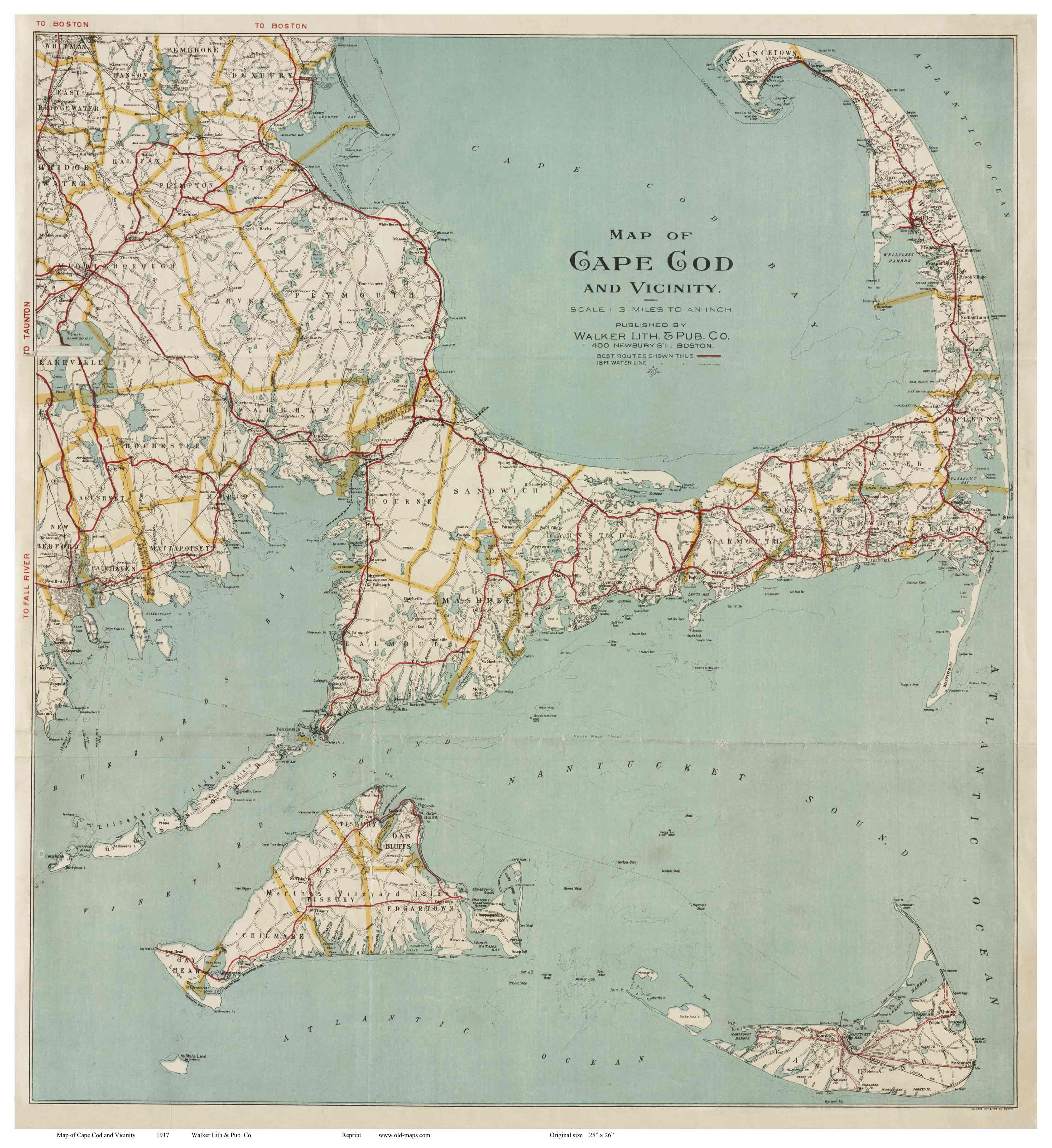 Old Map of Cape Cod 1917 Walker reprint