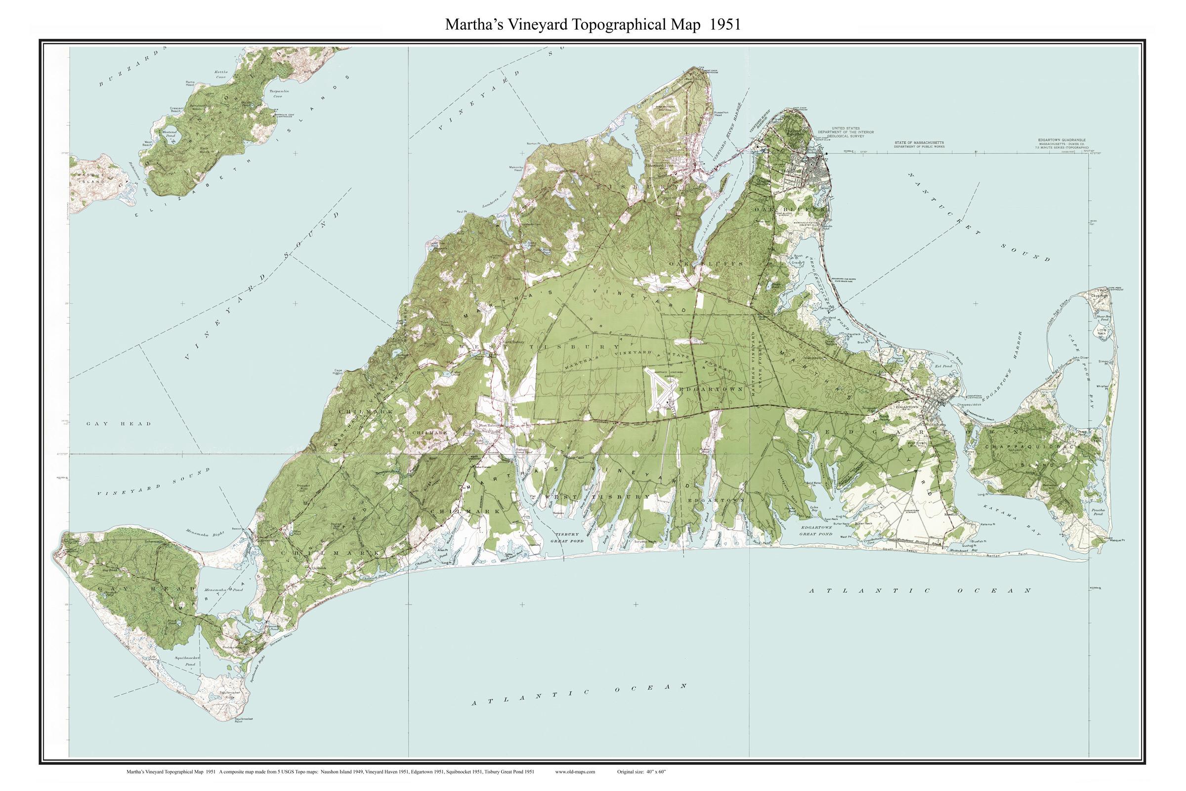 Old Nautical Charts of Martha s Vineyard