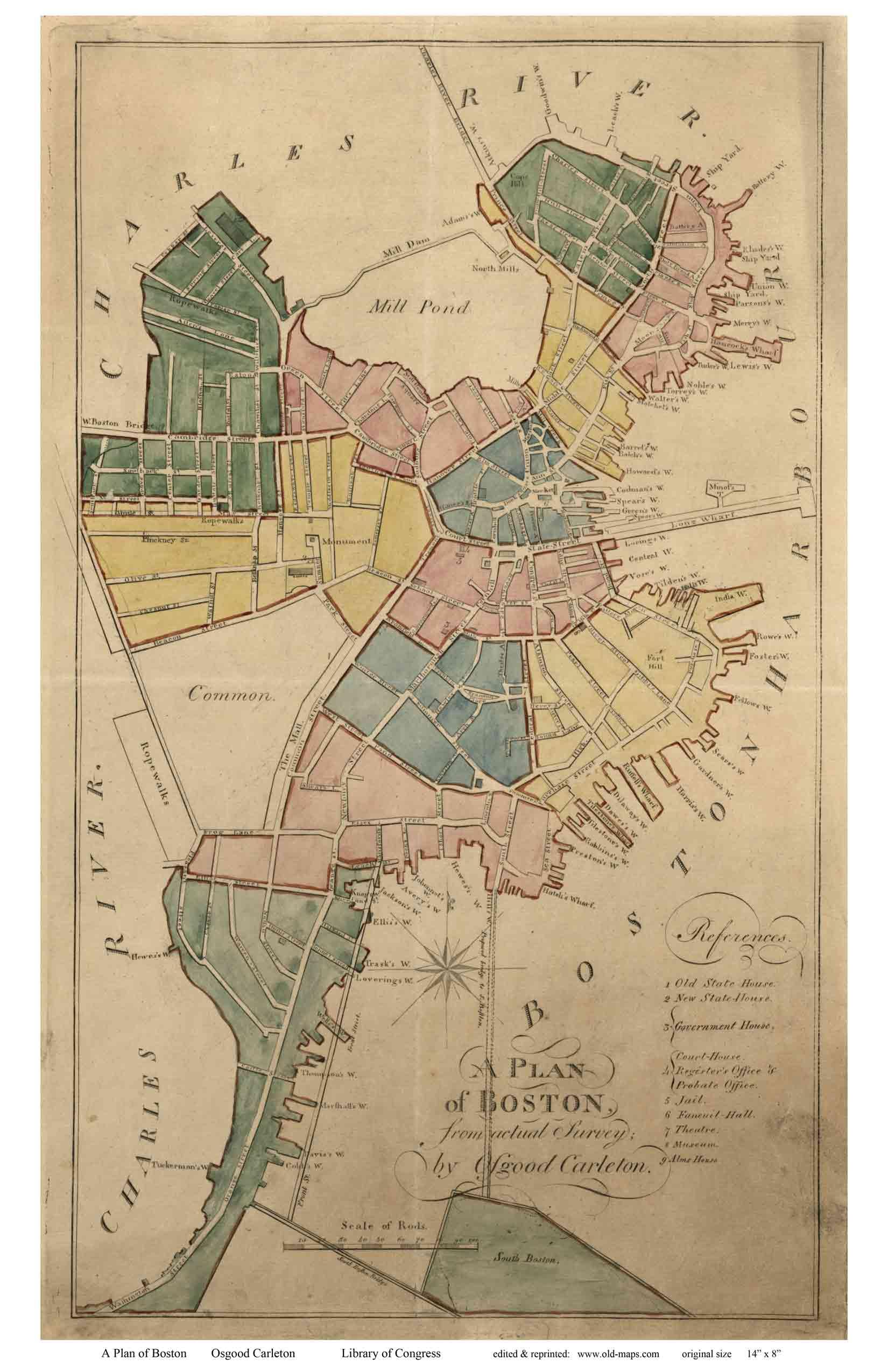 Antique Boston Map.Old Maps Of Boston