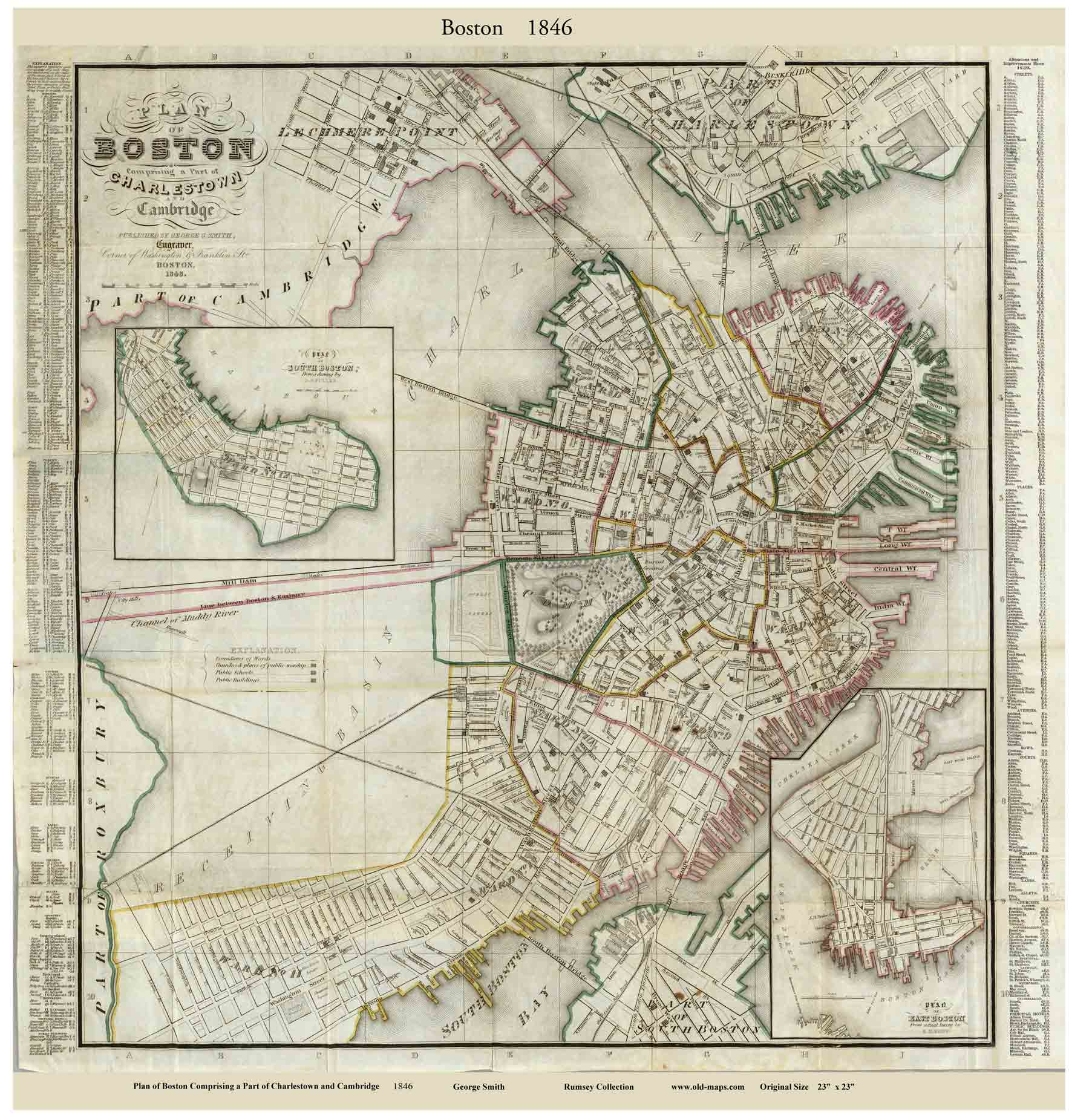 Boston Map Historical Sites.Old Maps Of Boston