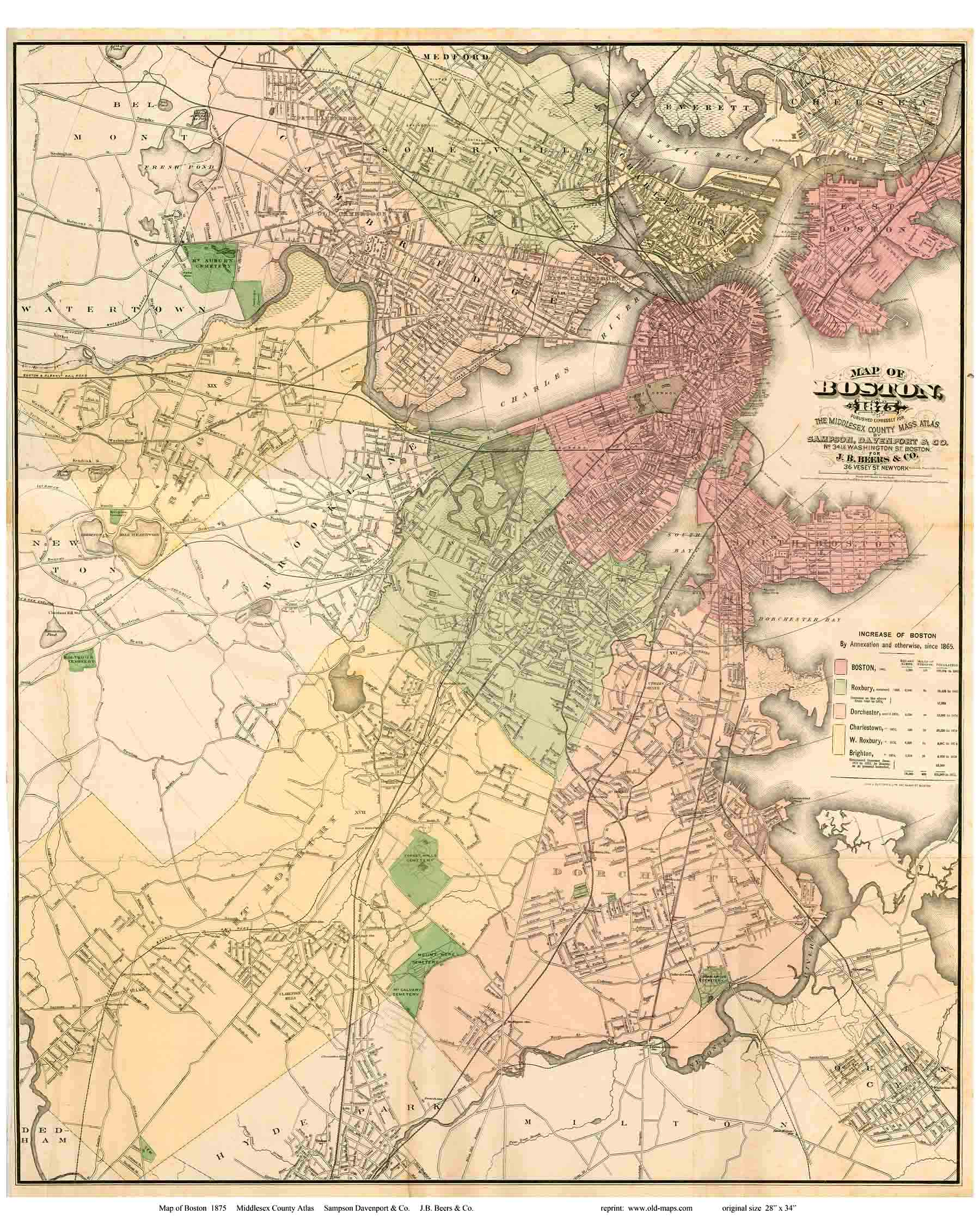 Old Maps Of Boston - Map of boston in usa