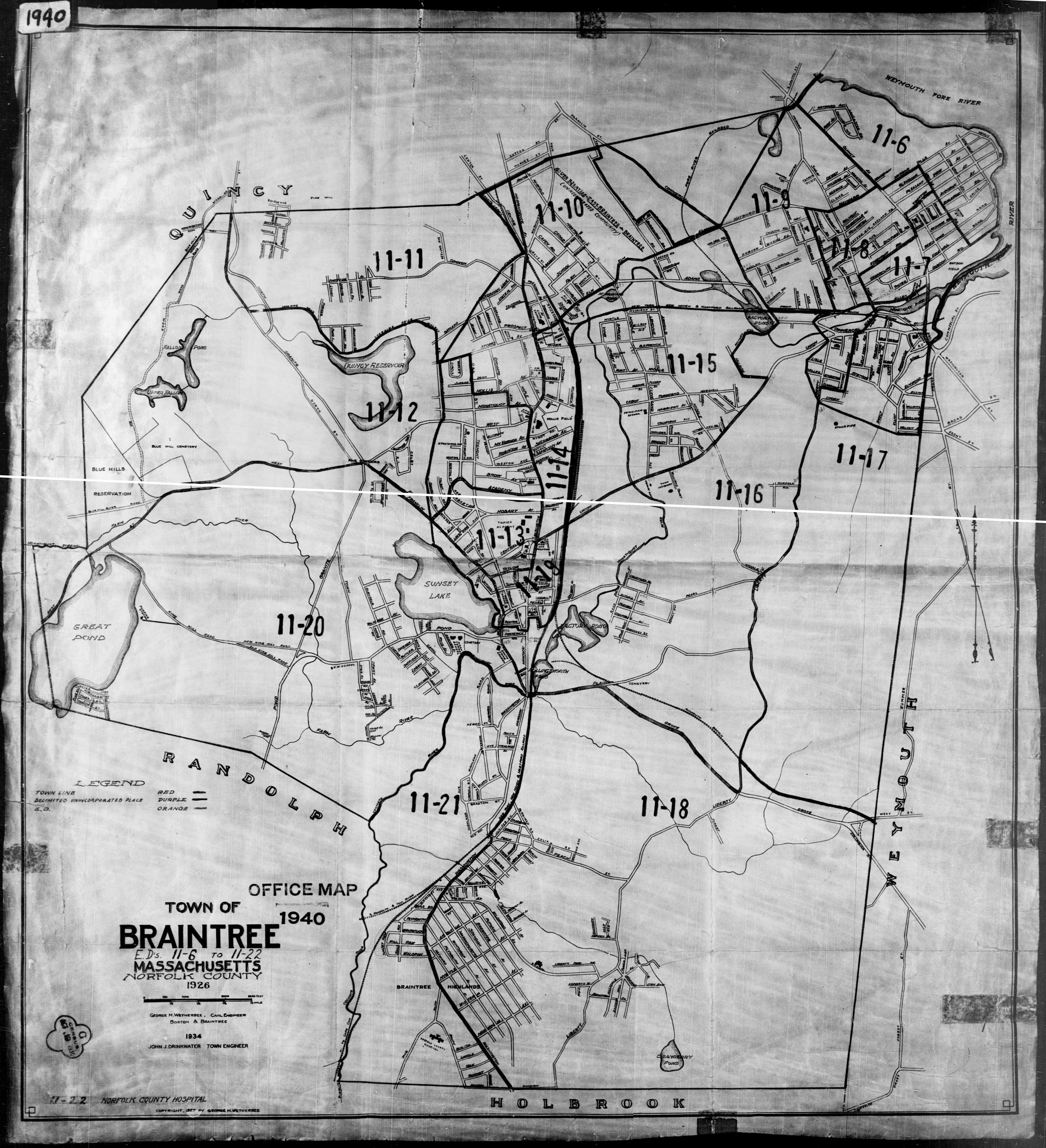 1940 Census Maps - Norfolk County MA on