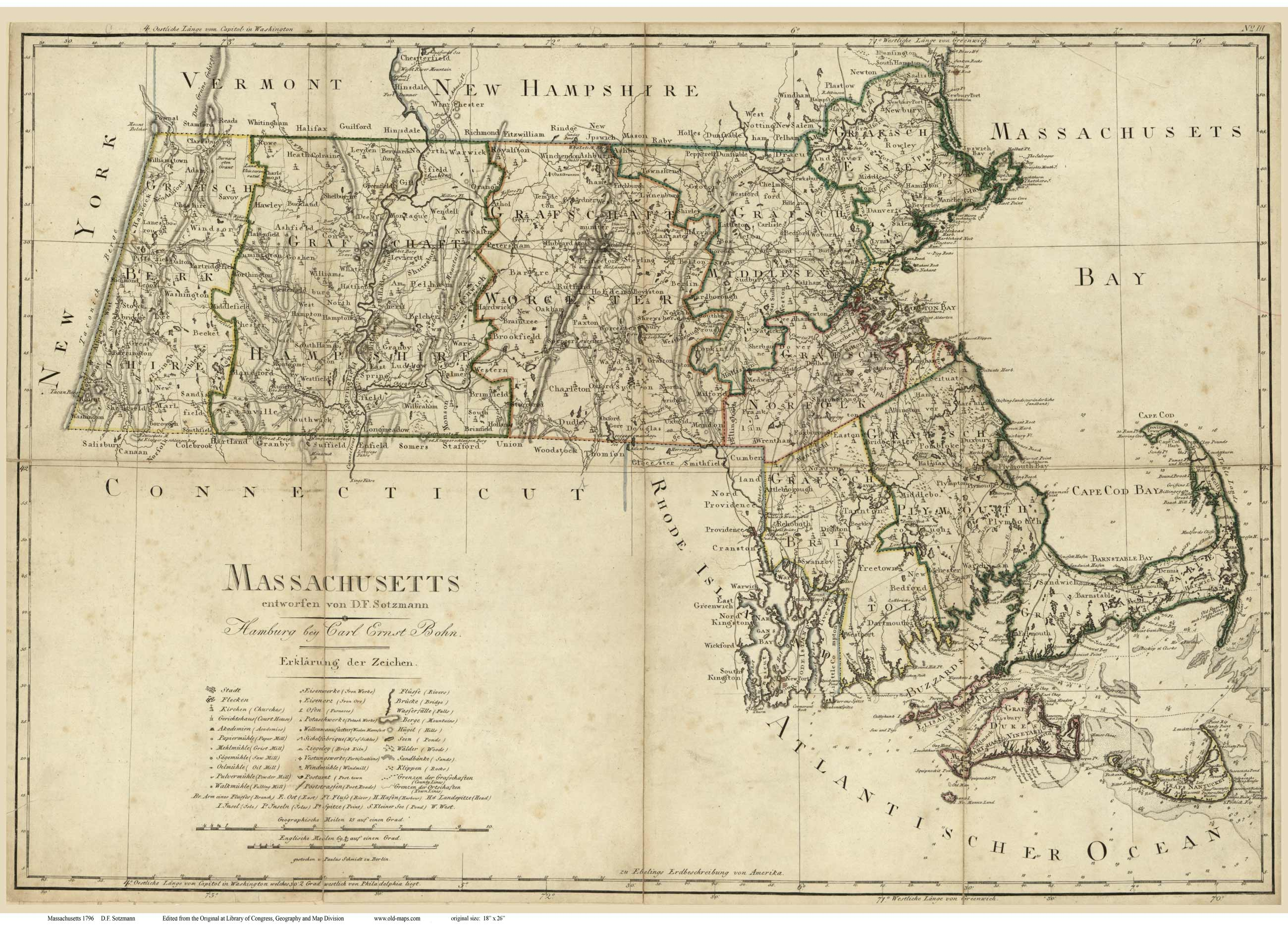 Prints of Old Massachusetts State Maps