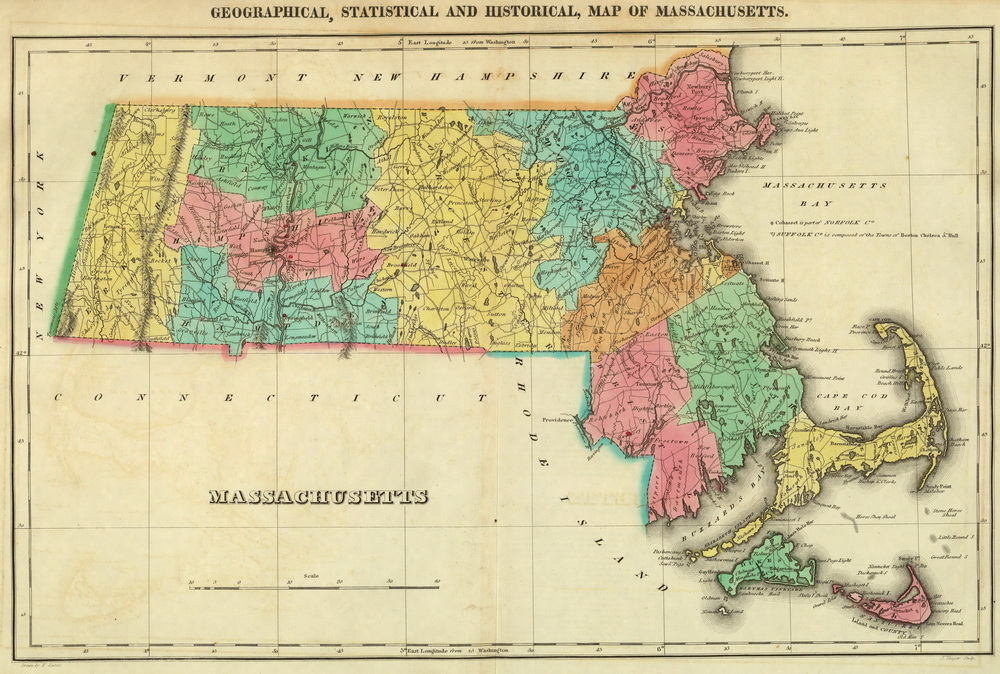 Prints Of Old Massachusetts State Maps - Map of massachussets