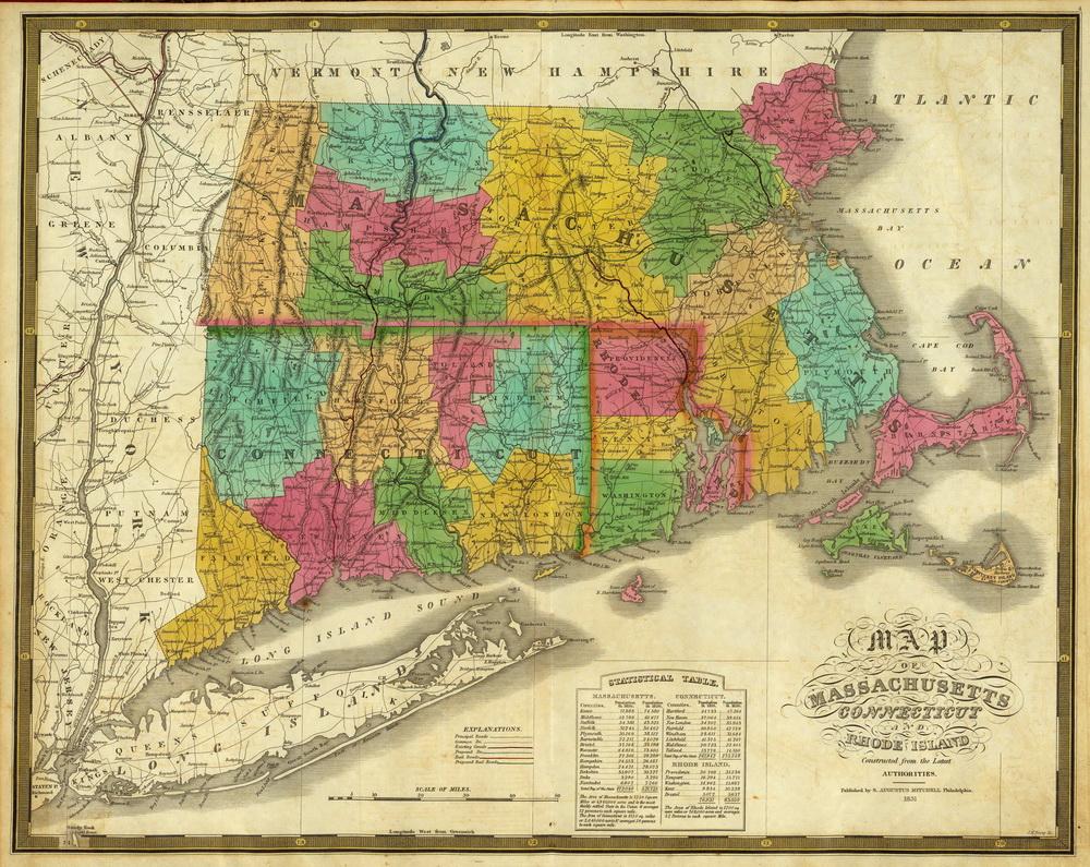 Prints Of Old Massachusetts State Maps - Massachusetts state map