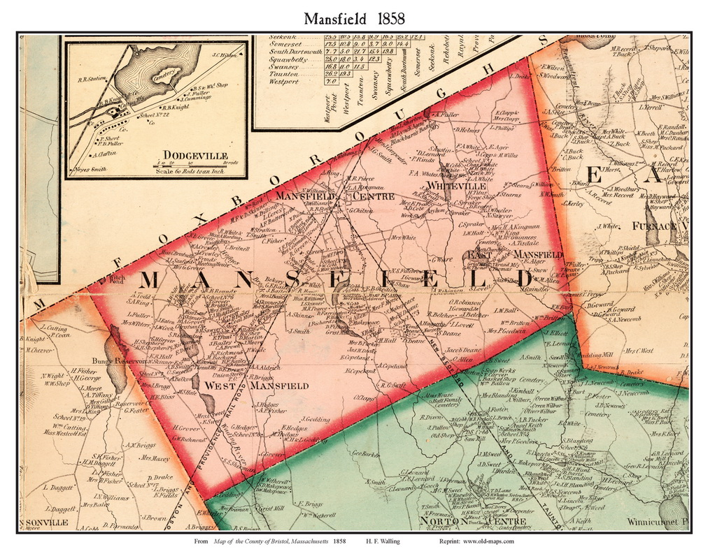 Bristol County Ma Single Map Reprints
