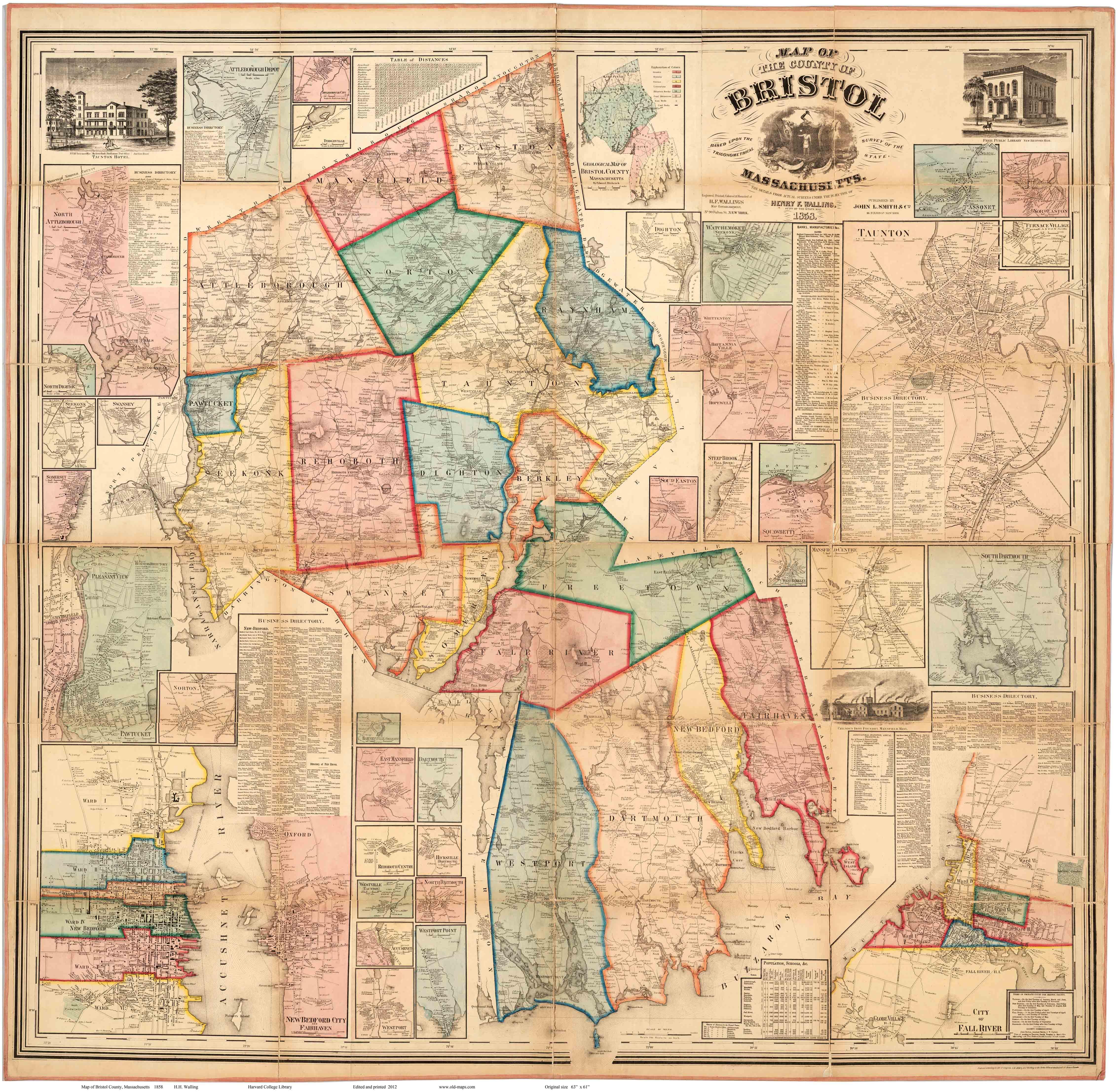 1858 Bristol County Wall Map