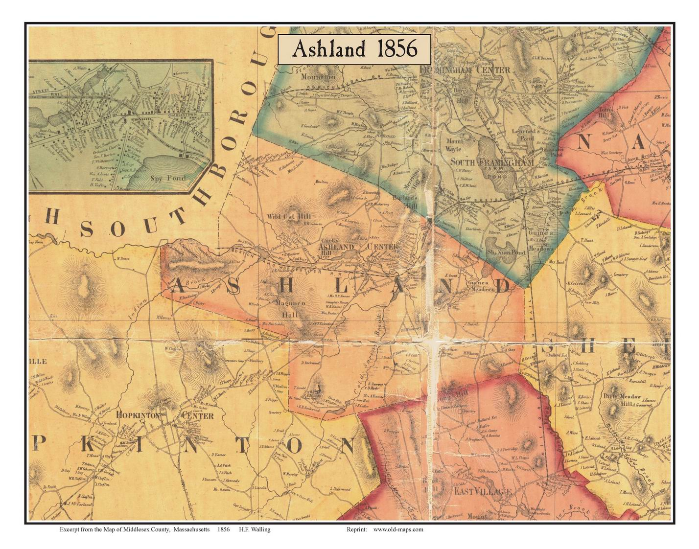 Old Maps Of Middlesex County MA - Map of ma
