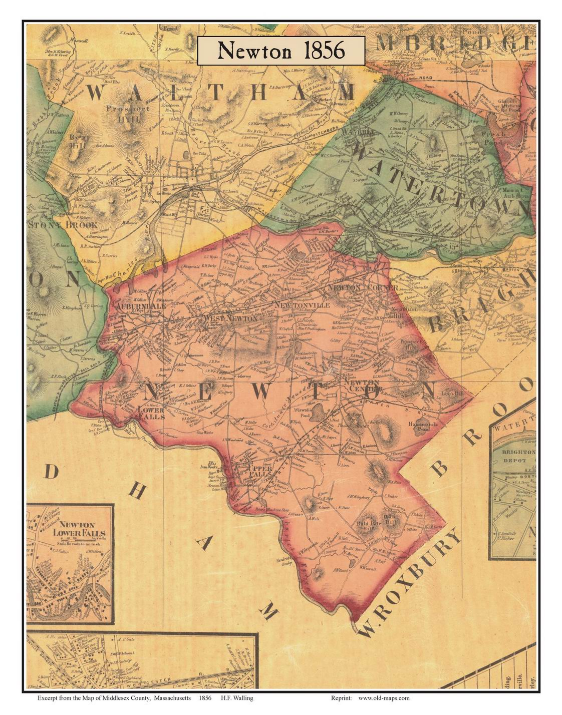 Old Maps of Middlesex County MA