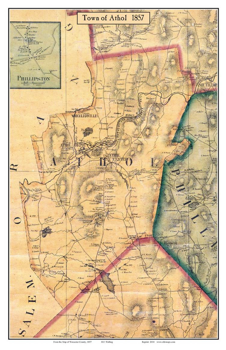 Old Maps of Worcester County MA