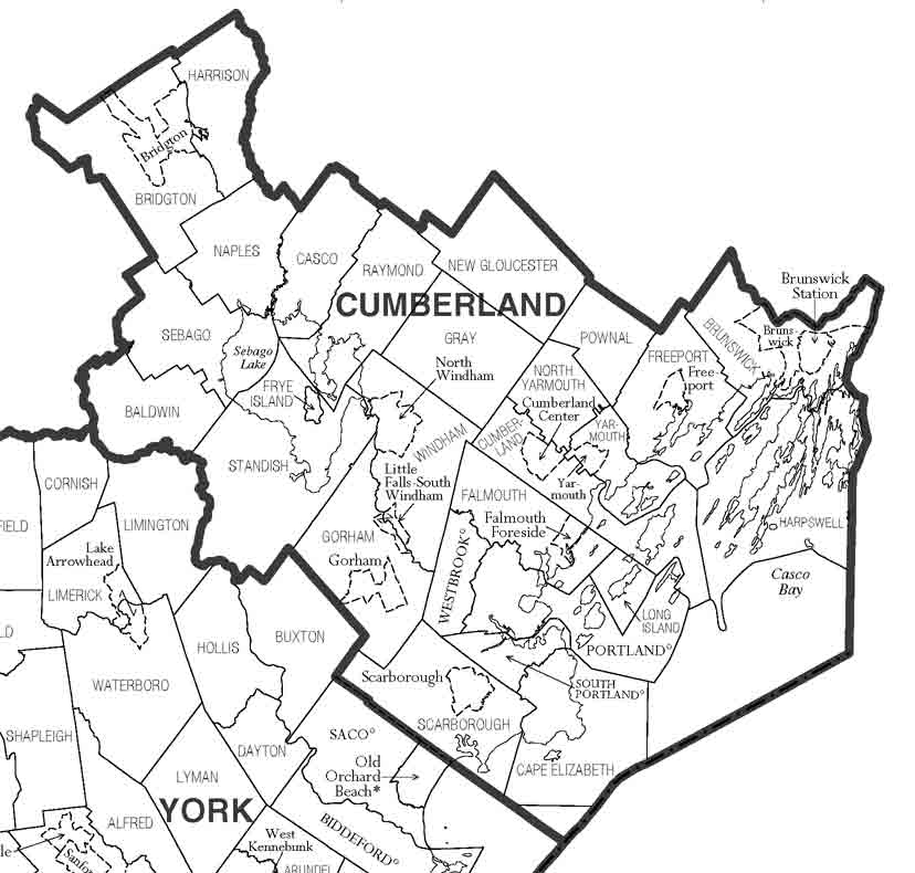 Cumberland County Maine Maps - Maine county map