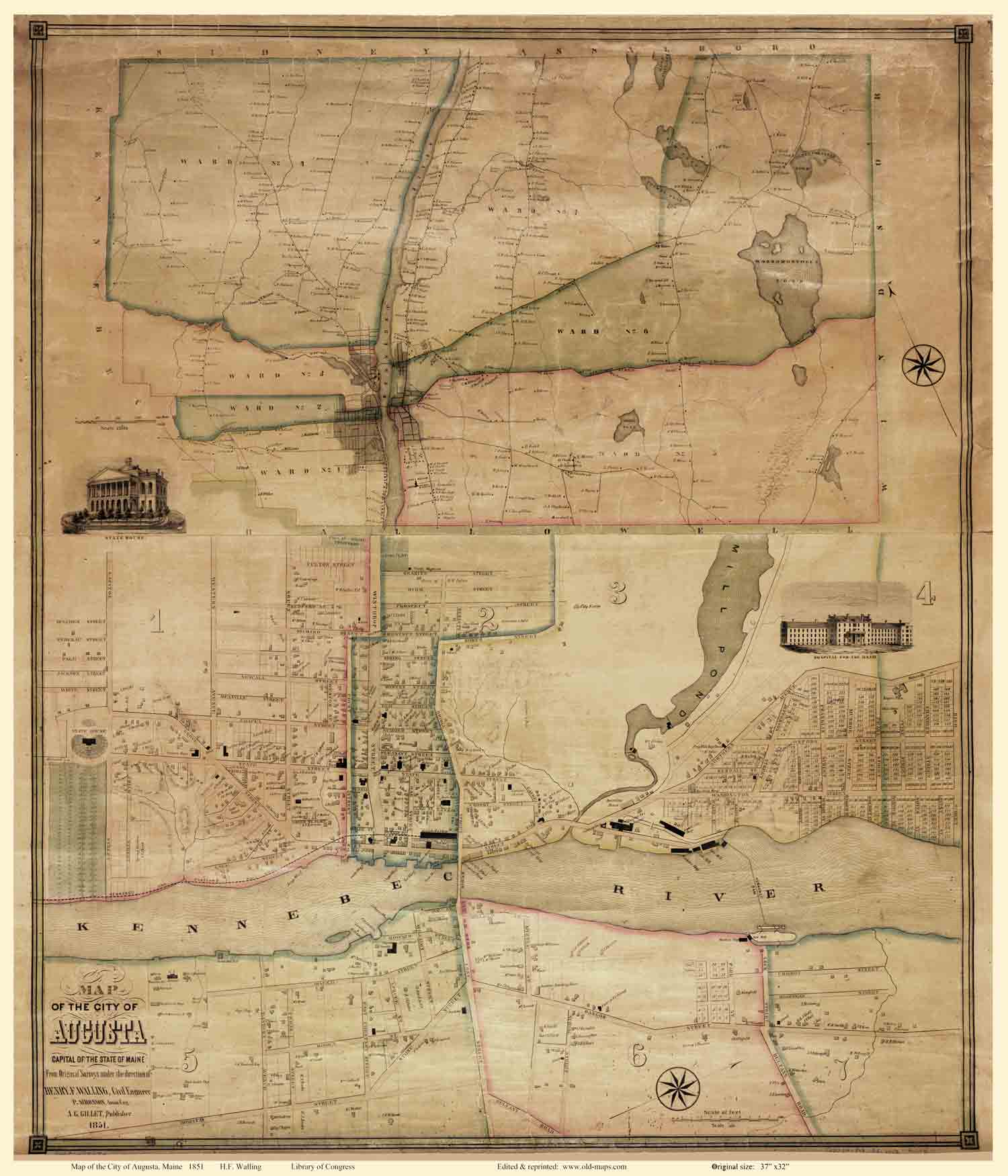 Beers1851 Map Of Augusta Maine HF Walling