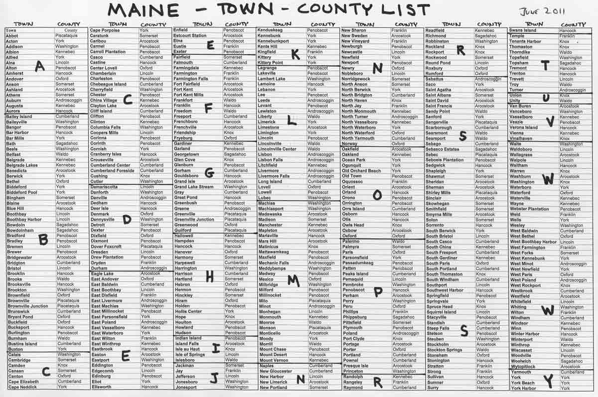 Maine county town list note that sciox Gallery
