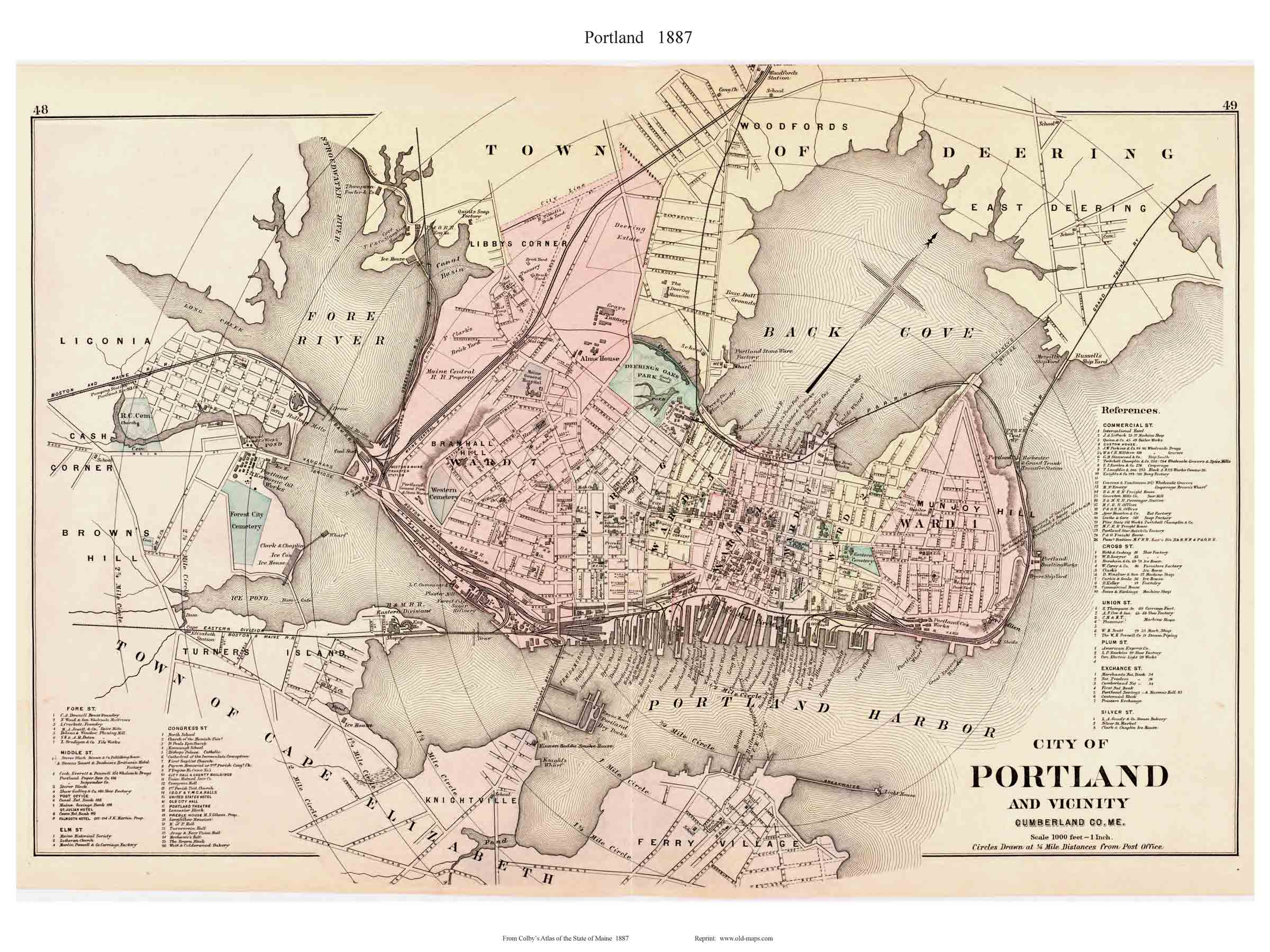 city of portland  colby. old maps of portland maine