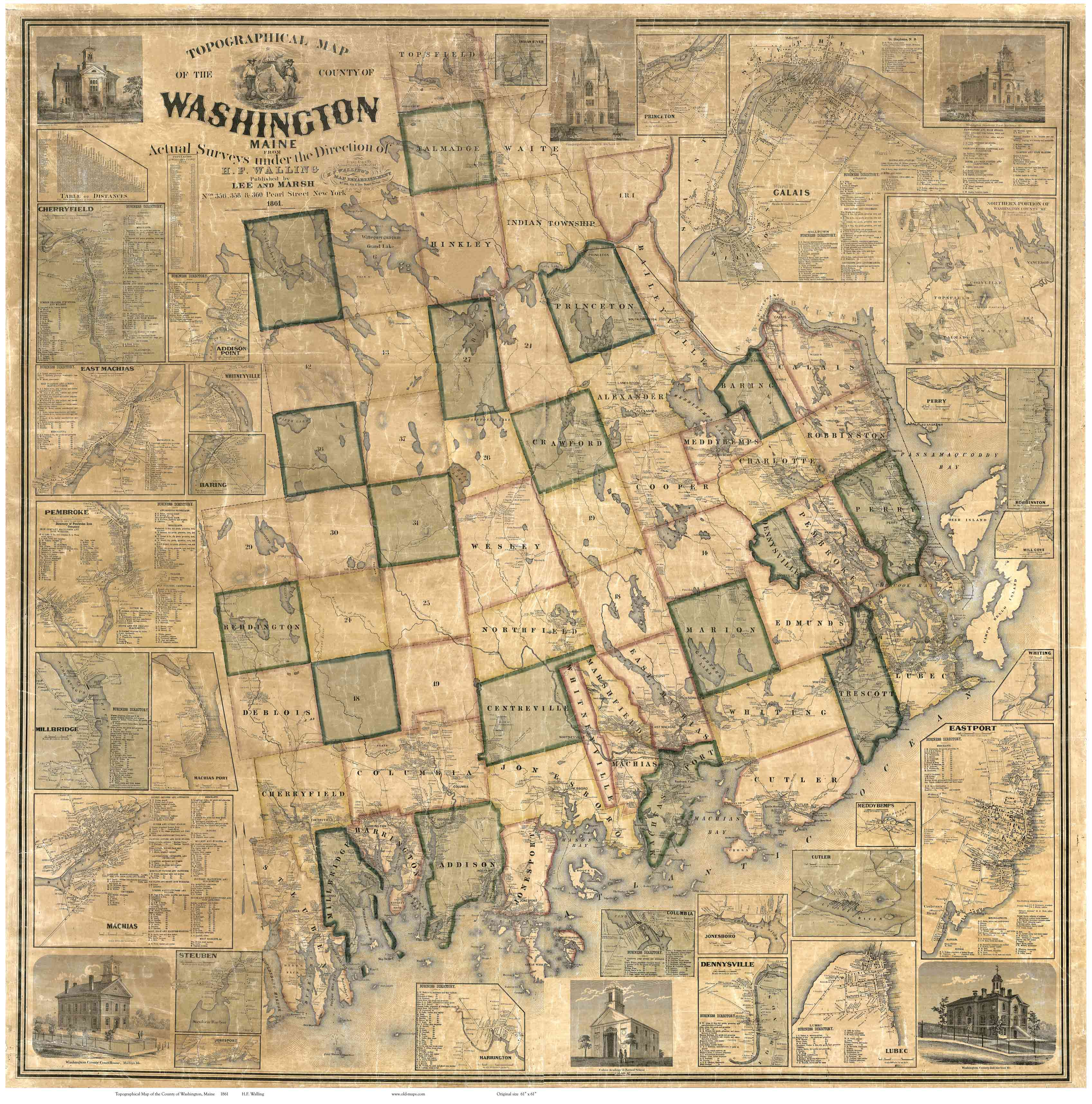 Washington County Maine 1861 Maps