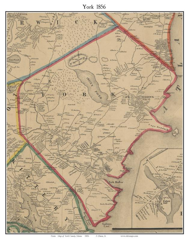 York County Maine  Single Map Reprints