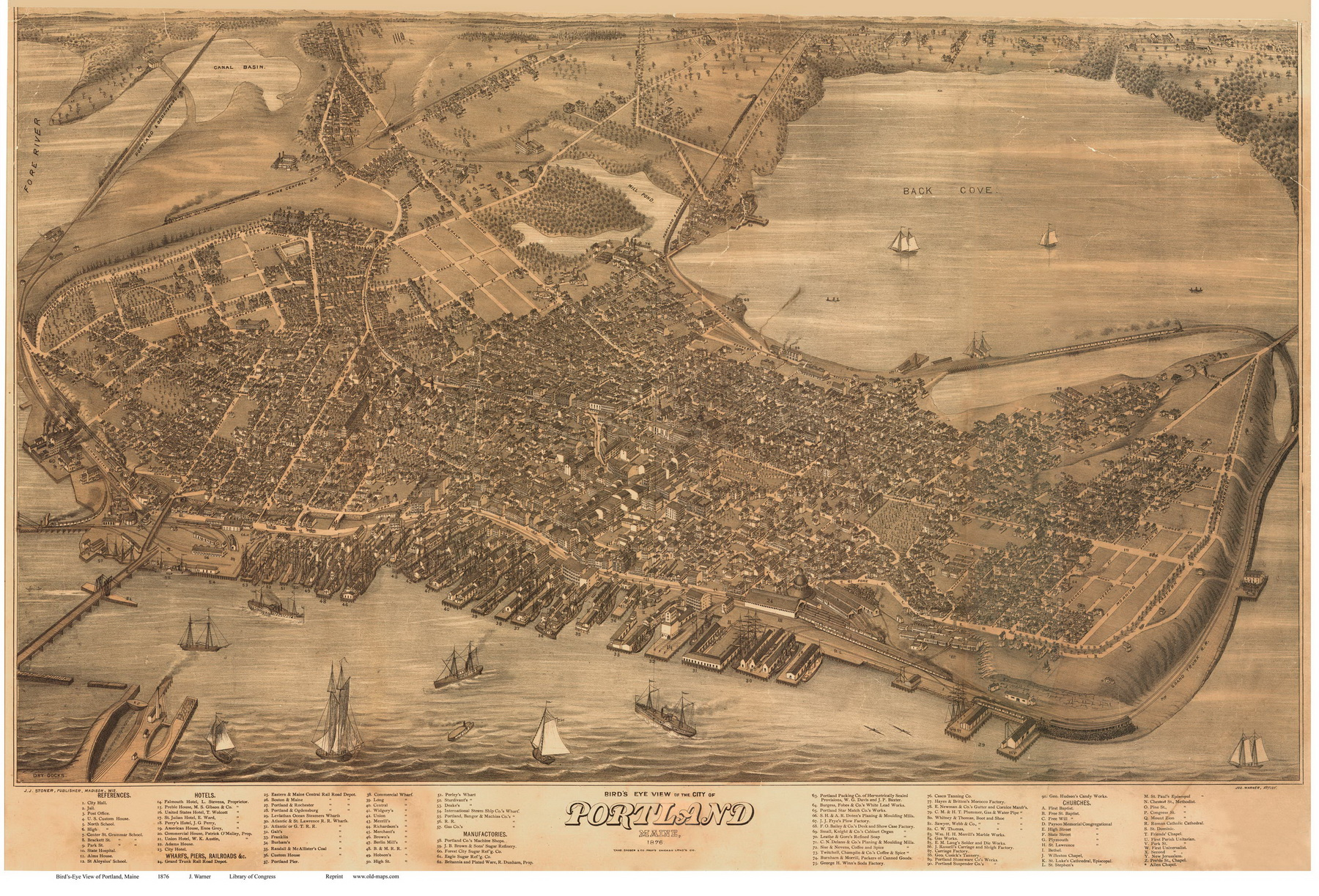 Old Maps Of Portland Maine - Antique map of maine