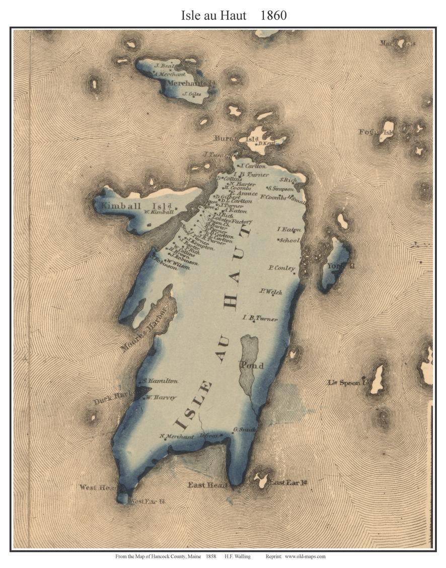 Sagadahoc County Maine Single Map Reprints