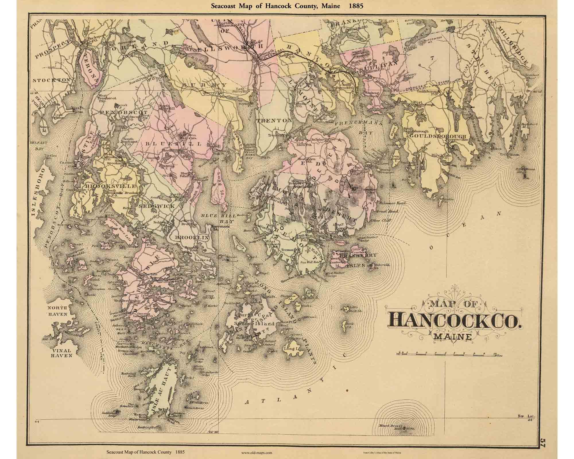 Hancock County 1885 Map