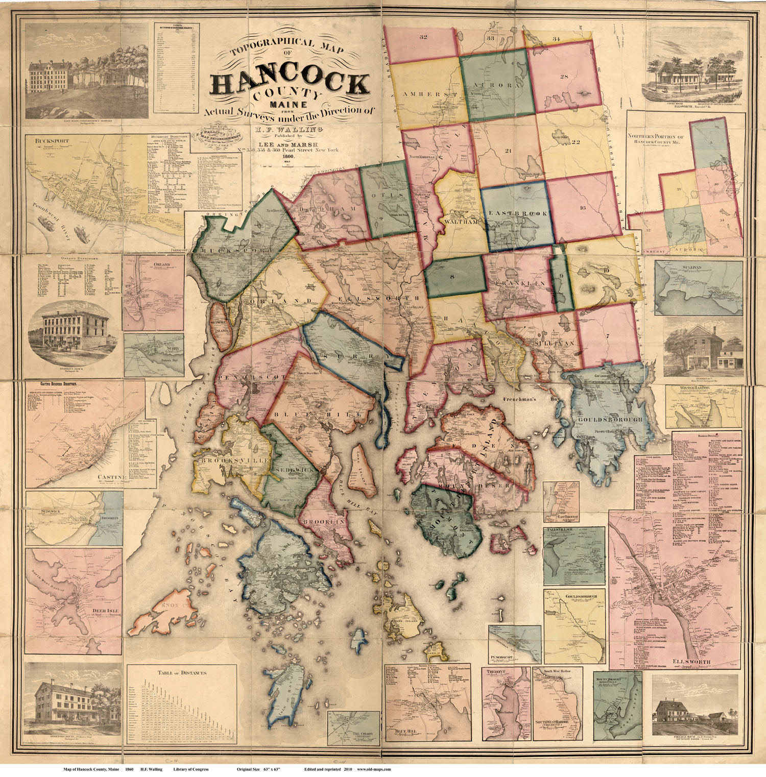 Map Of Hancock County ME Print Of Wall Map - Map of the whole world with names