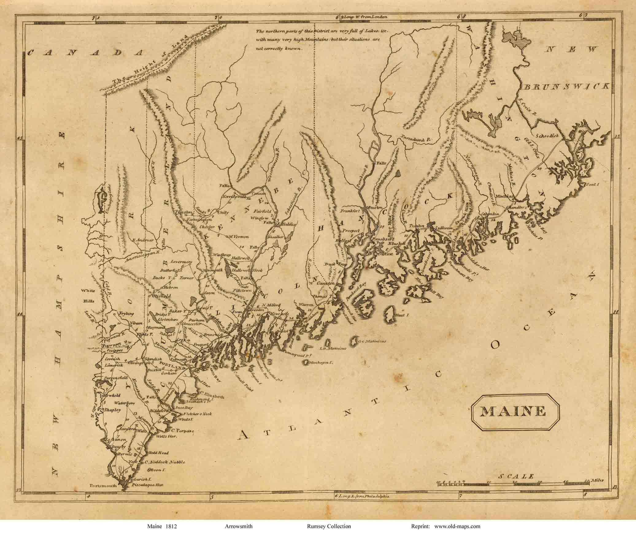 Old Maine Map.Old Maps Of Maine Small State Maps