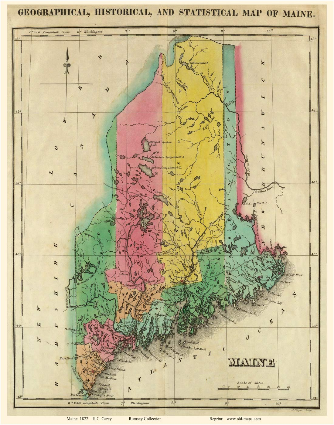 State Map Of Maine.Old Maps Of Maine Small State Maps