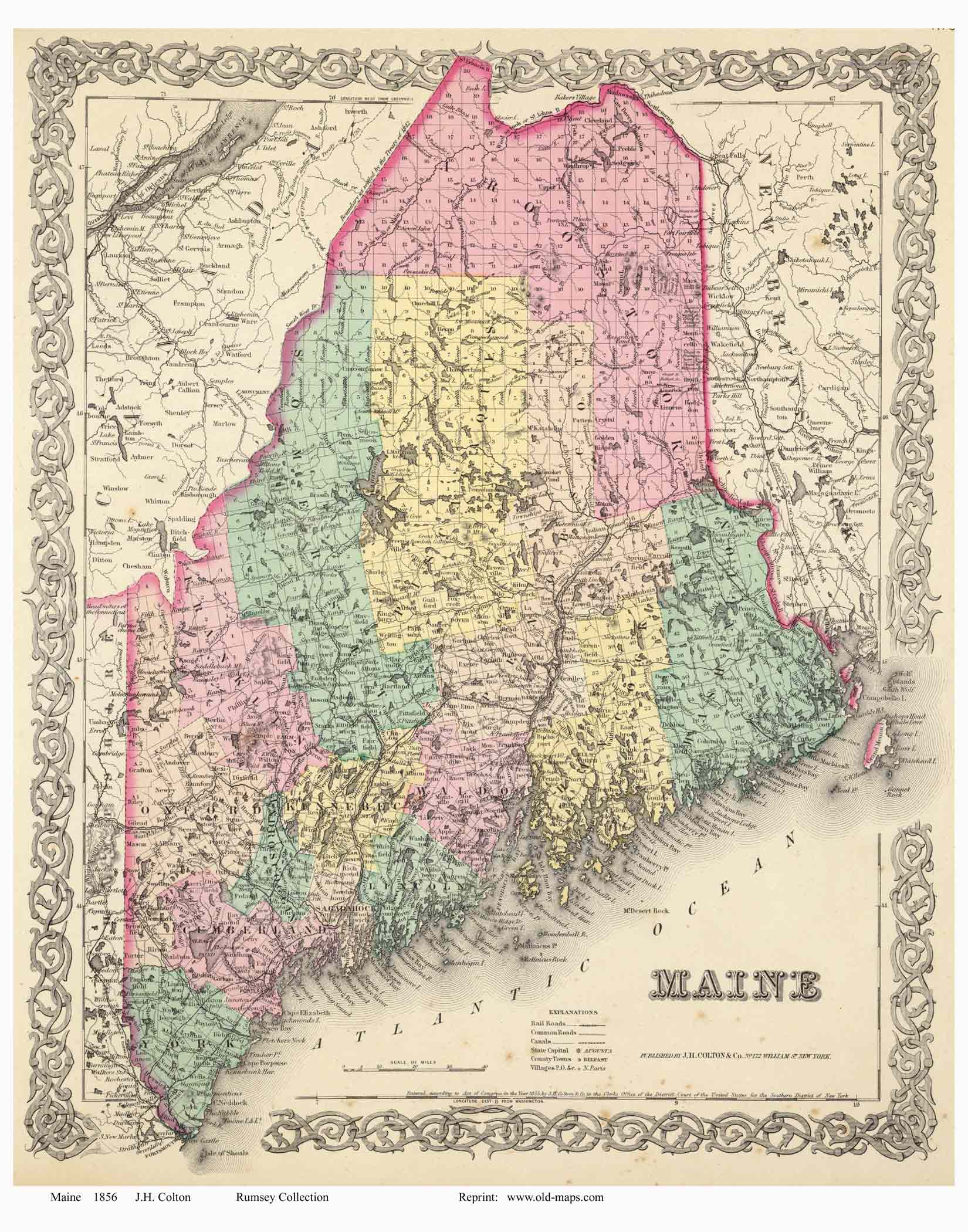 Old Maps Of Maine Small State Maps - Maine state map