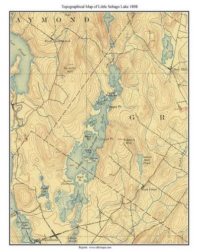 Old Maps Of Sebago Lake MAINE - Maine lakes map
