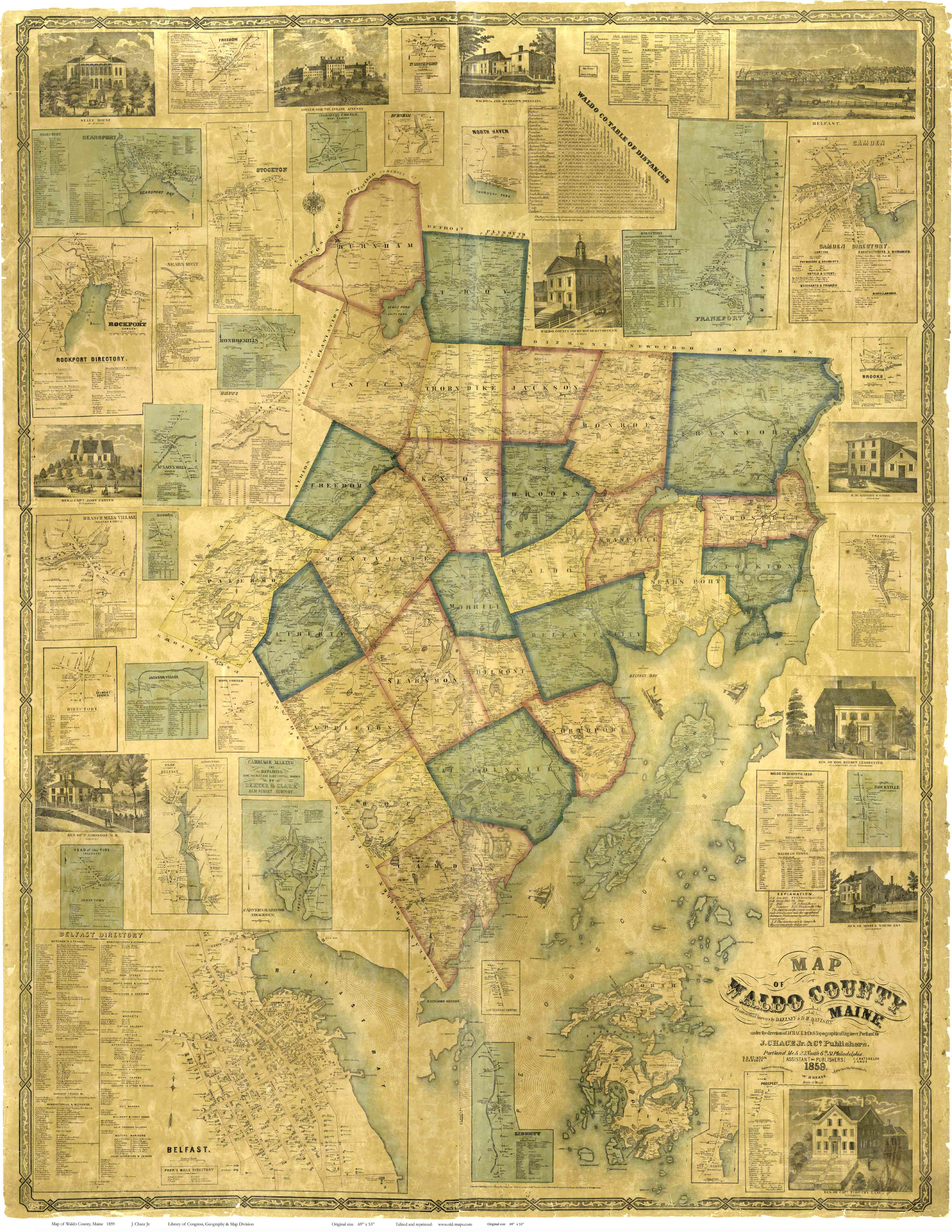 Waldo County Maine 1859 Maps