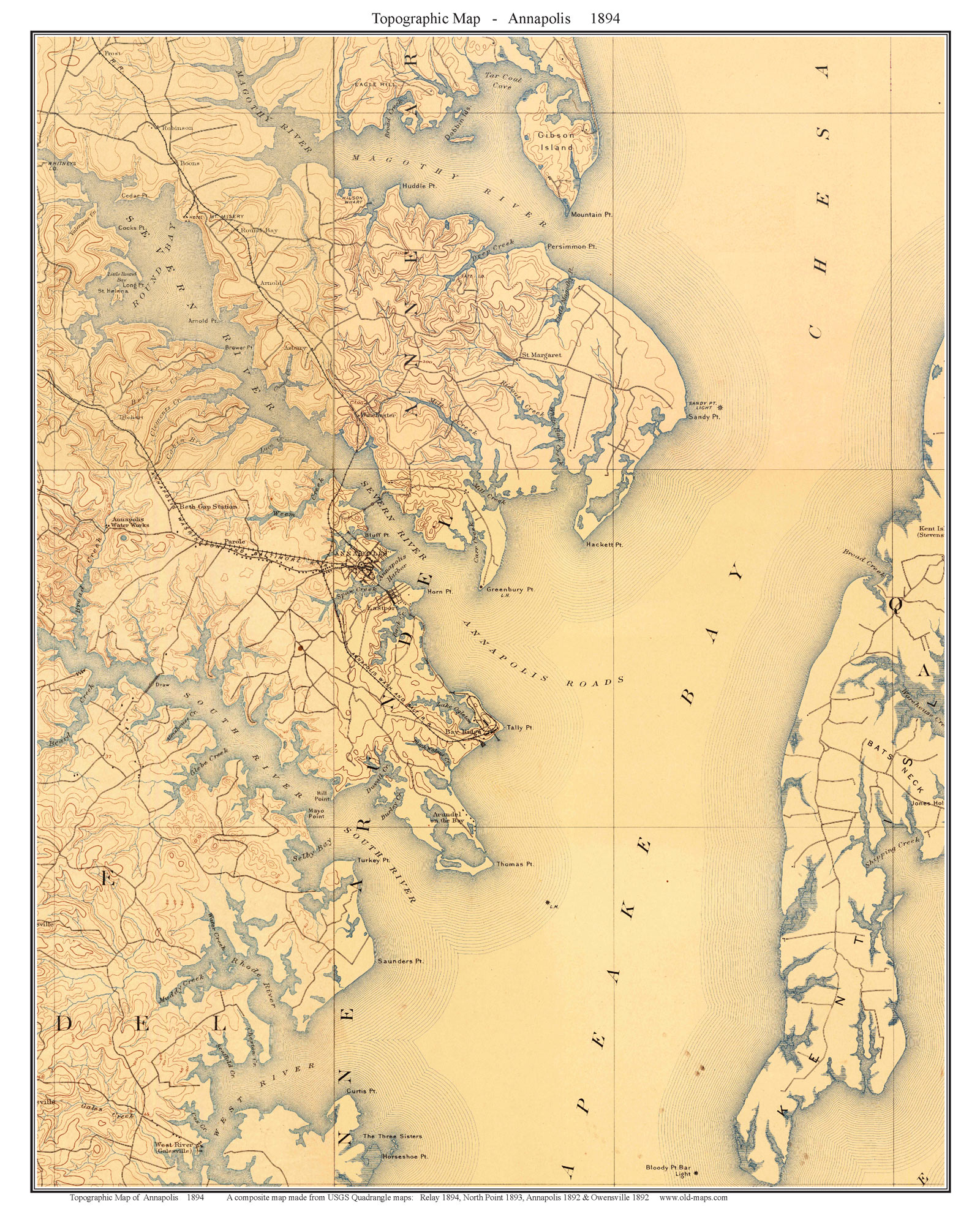 Chesapeake Bay Topographic Map.Old Topographical Maps Of The Chesapeake Bay Area