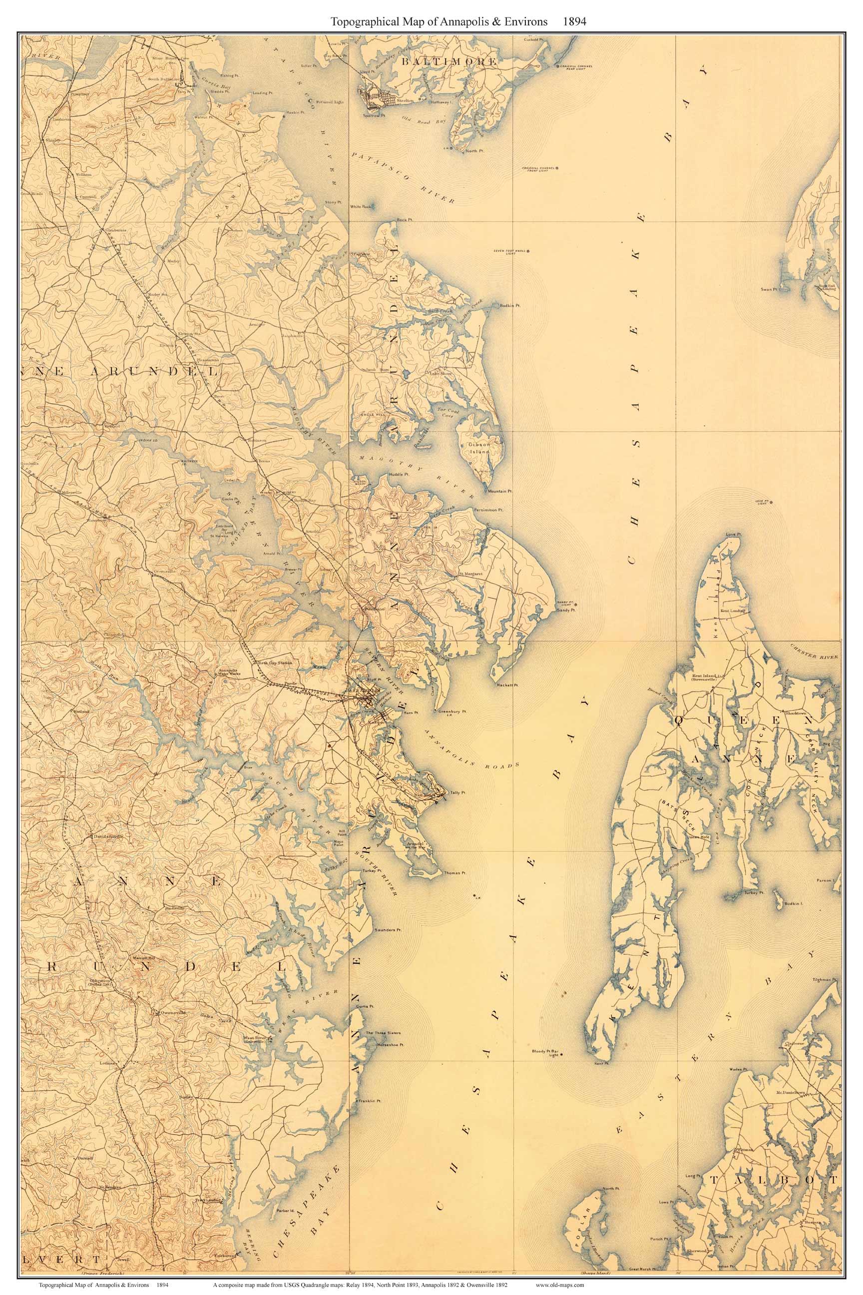 Old Topographical Maps of the Chesapeake Bay Area