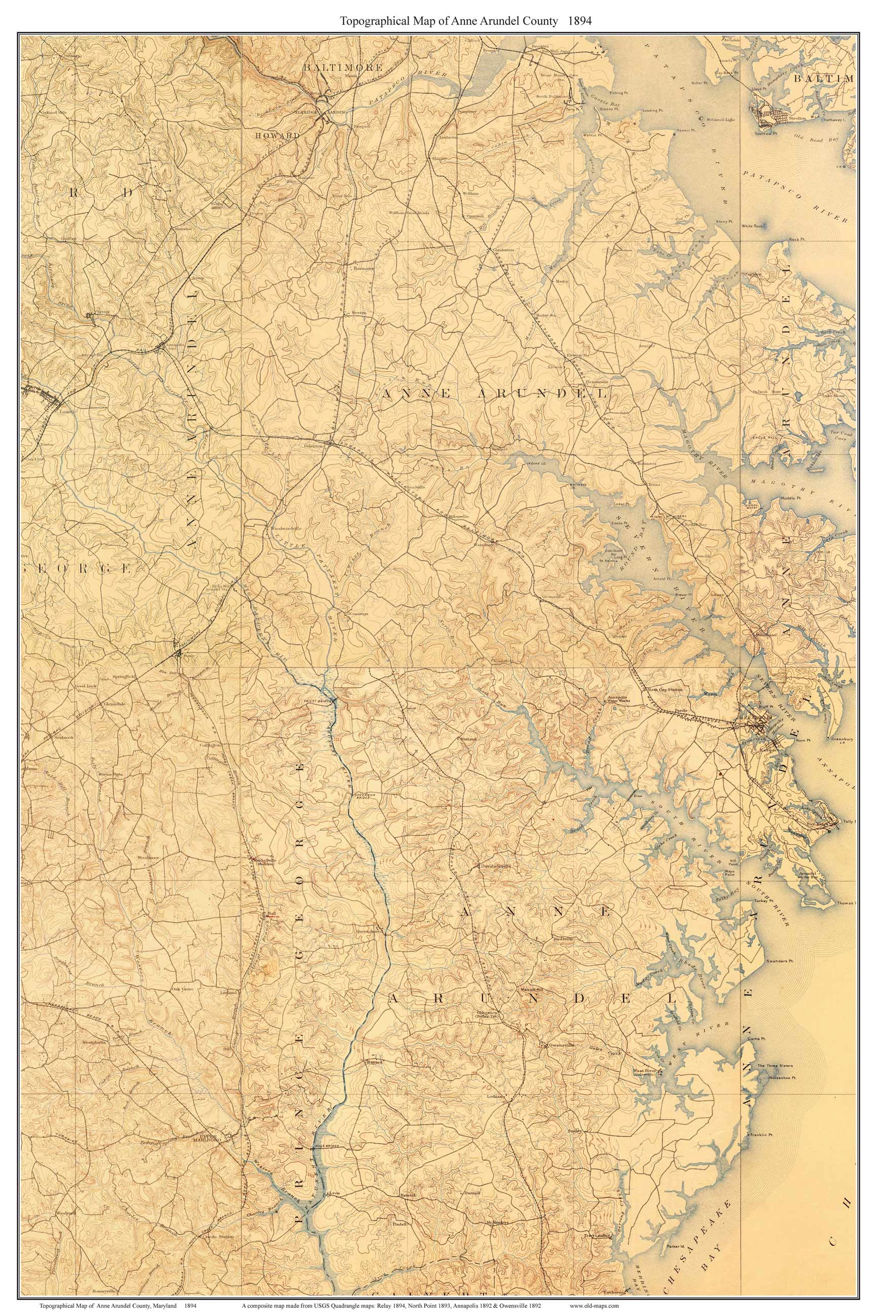 Old Usgs Topo Map Of Anne Arundel County Maryland