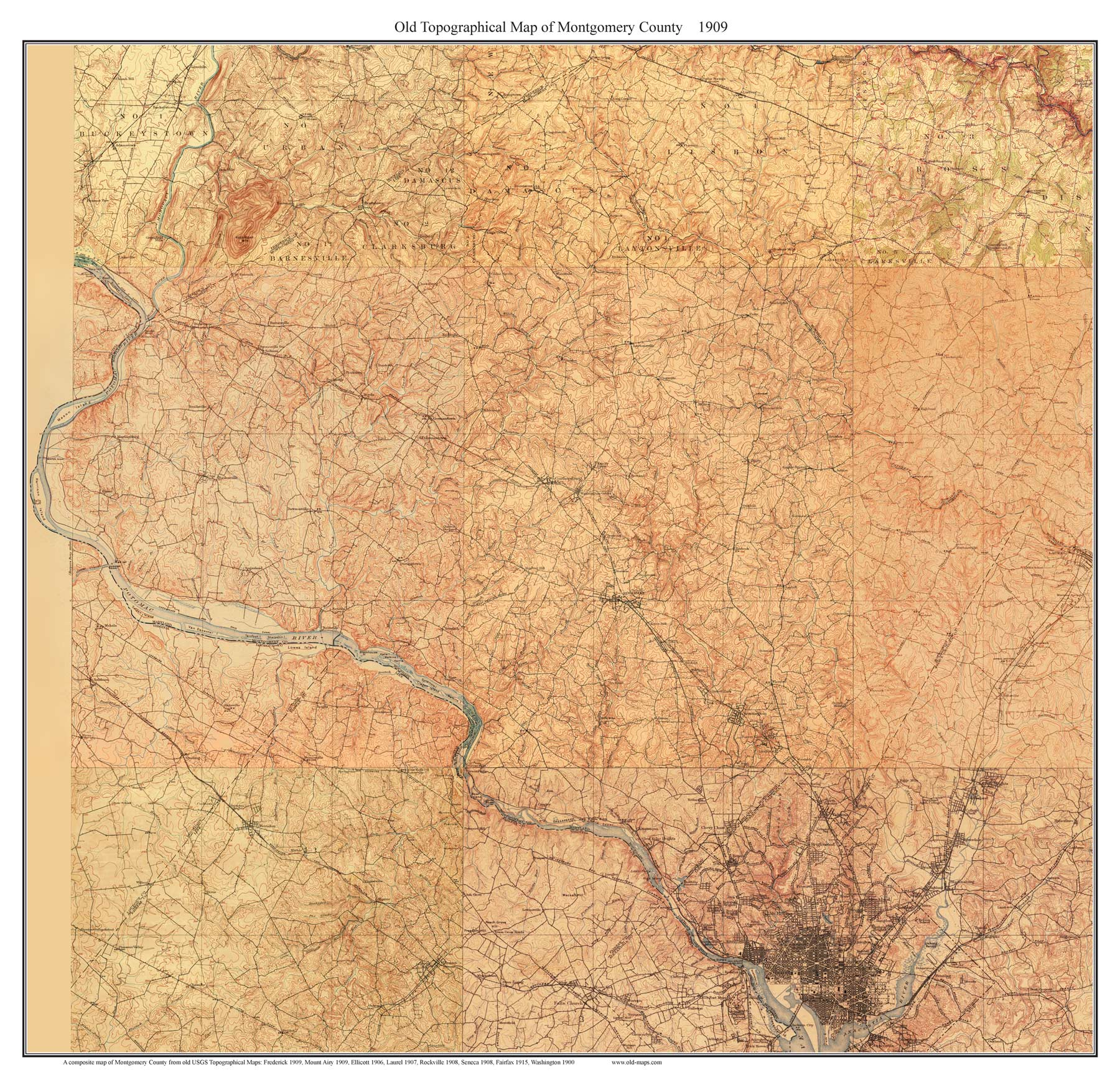Old Usgs Topo Map Of Montgomery County Maryland