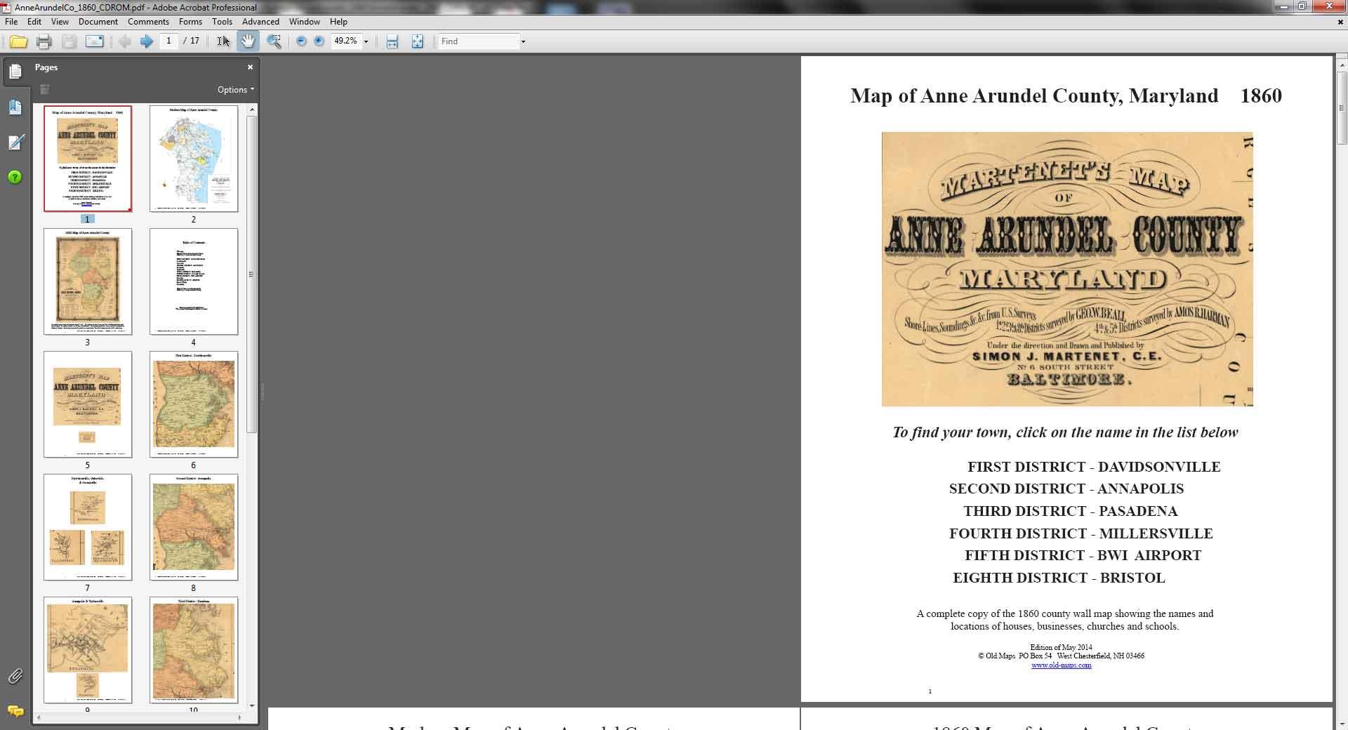 Anne Arundel County Maryland 1860 CDROM