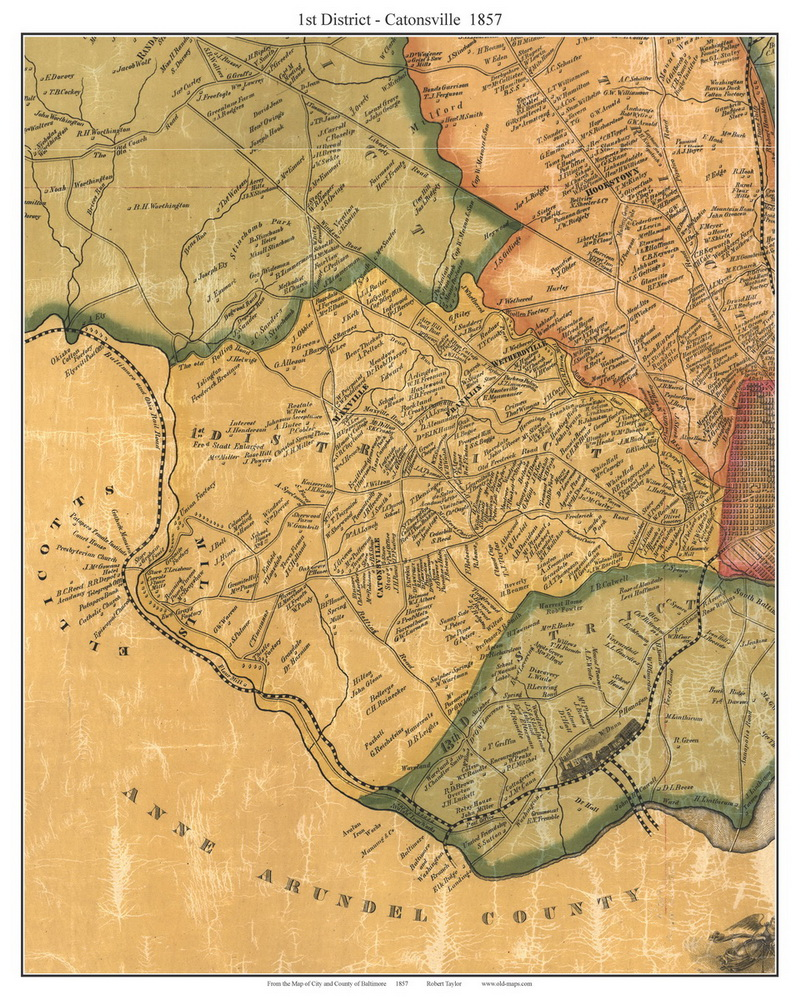 Old Town Maps Of Baltimore Co MD 1857