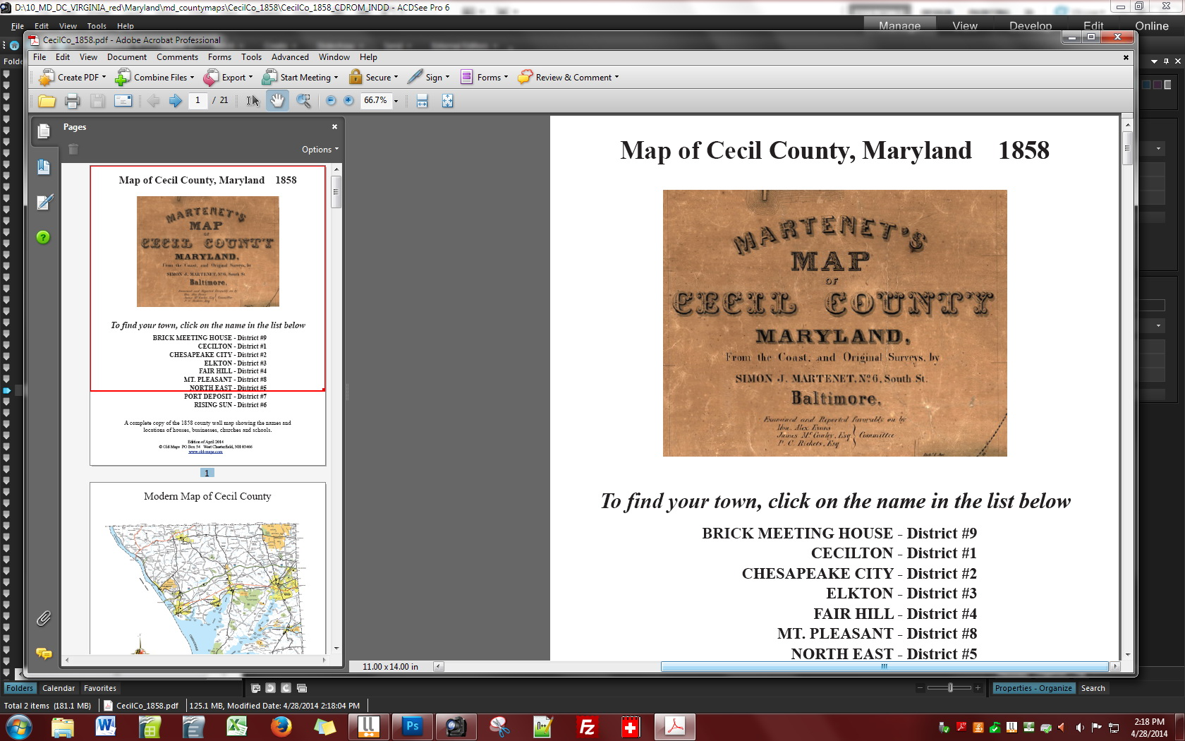 Cecil County Maryland 1858 - CDROM details