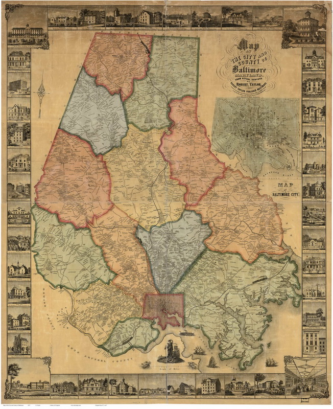 1857 Baltimore Co MD Wall Map