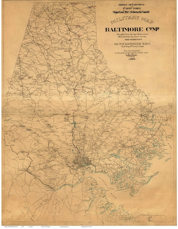 1863 Baltimore Co MD Wall Map