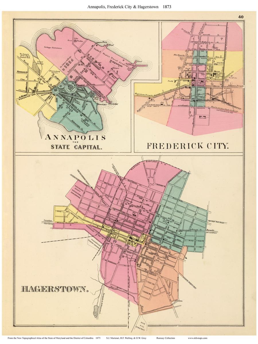 1873 Atlas of Maryland City Maps