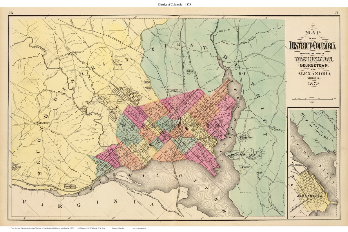 Map Of Virginia And Maryland Cities.1873 Atlas Of Maryland City Maps